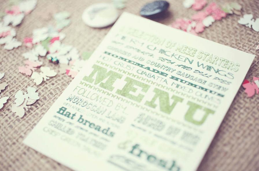 menu diy boda