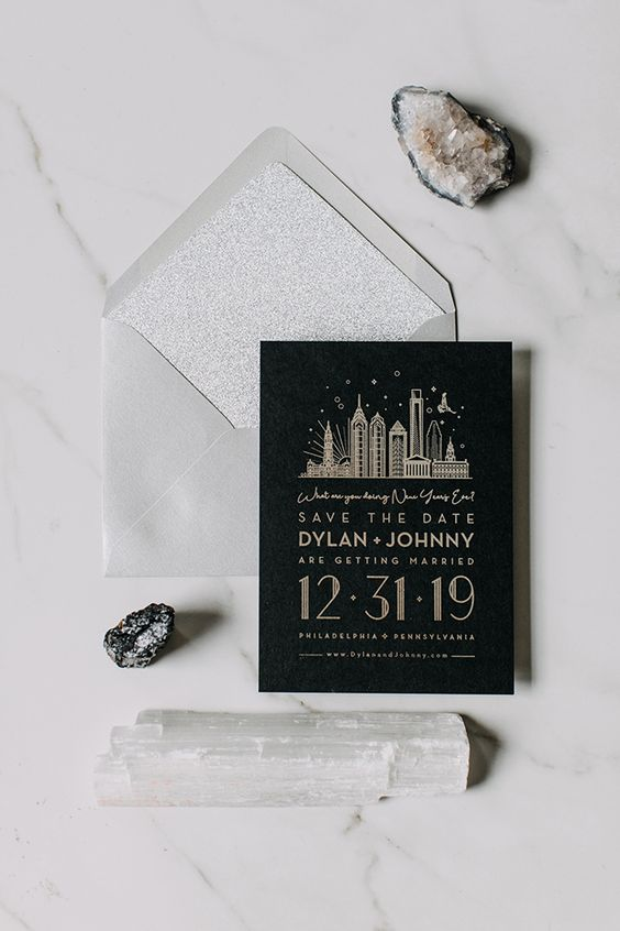 save the date para boda en nochevieja
