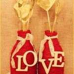 diy boda jarrones cuerda corazones papel - Decora tu Boda con Jarrones de Cristal