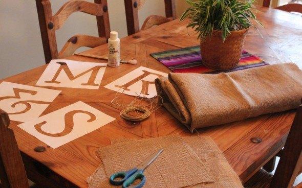 Como hacer un banderin de tela de saco