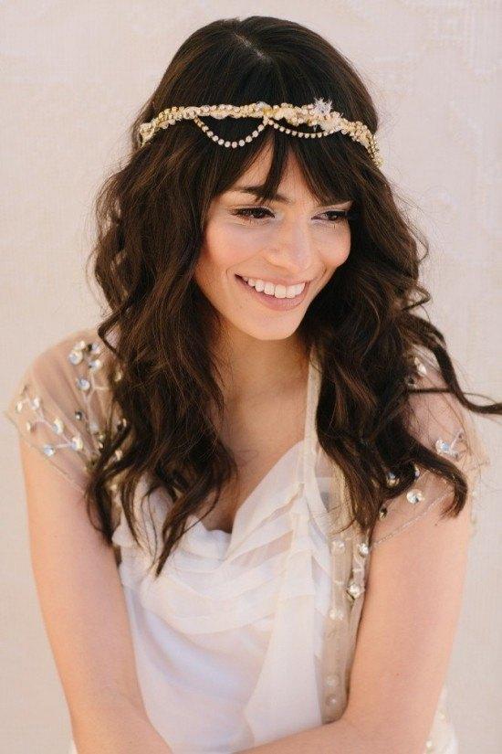 Peinados de novia con el pelo suelto diario de una novia - Peinados de novia con flequillo ...