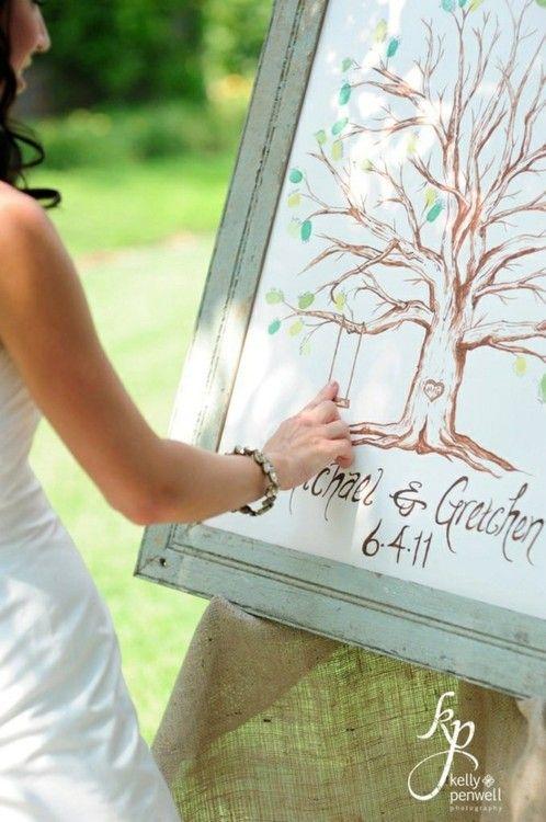 arbol de huellas en boda