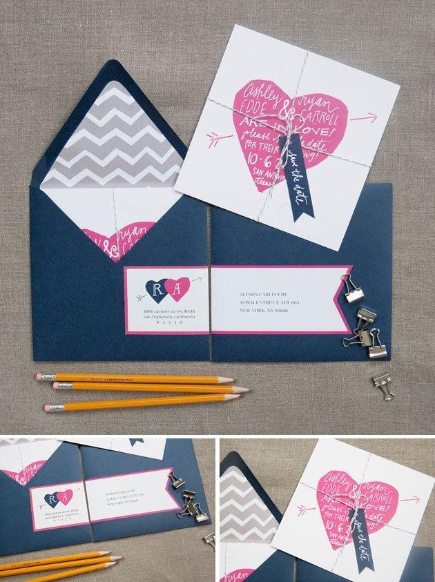 Invitaciones de boda corazón rosa