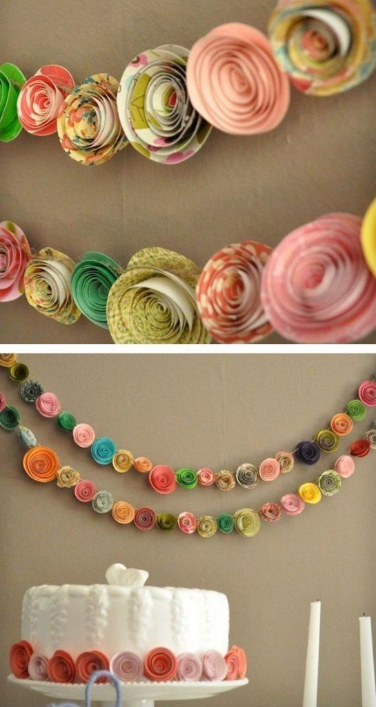 guirnaldas de flores de papel con flores enrolladas