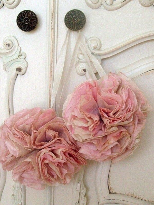 guirnaldas de flores con filtros de cafe