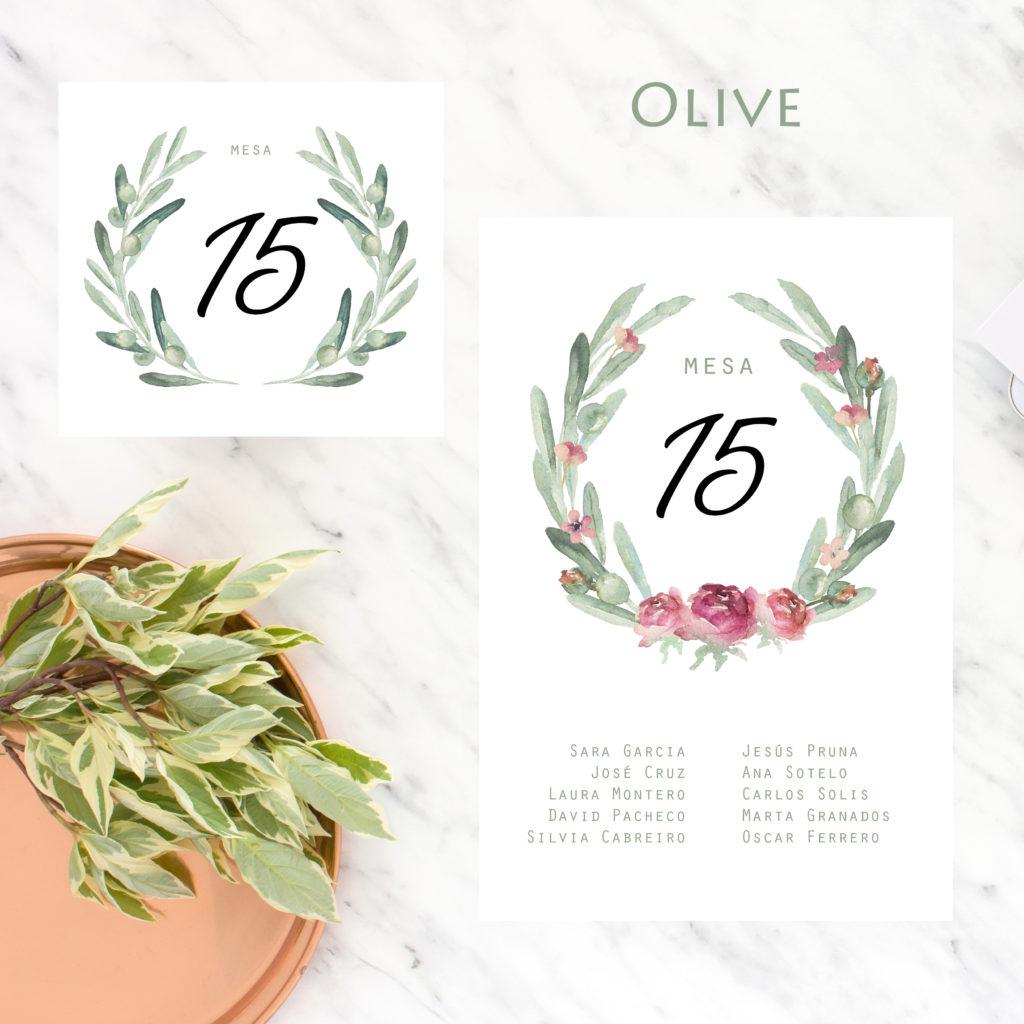 meseros y seating plan imprimibles para bodas Olive