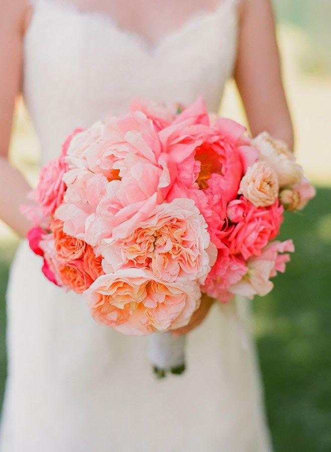 ramos de novia con Peonías fuscia y naranja