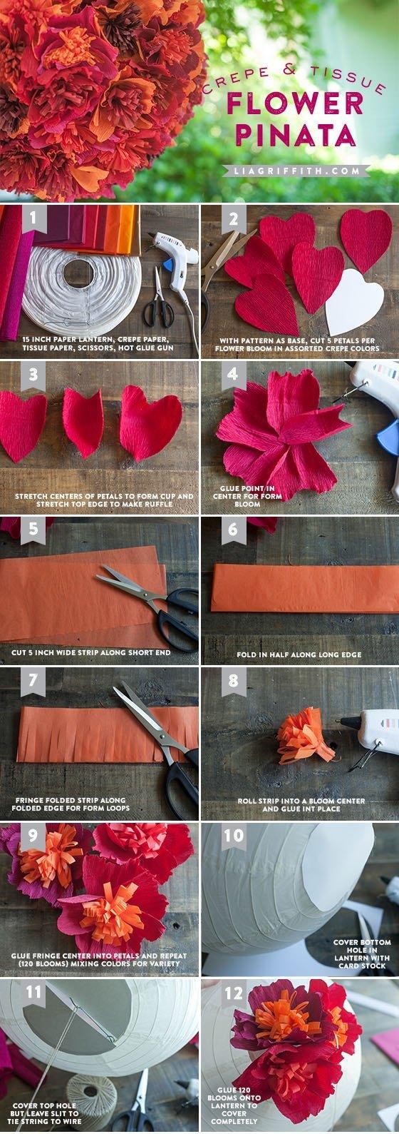 DIY piñata para bodas con flores