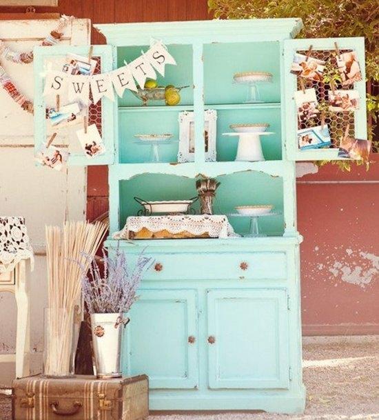 decoración de bodas rústicas armario azul