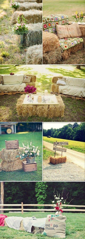 decoración de bodas rusticas alpacas de paja