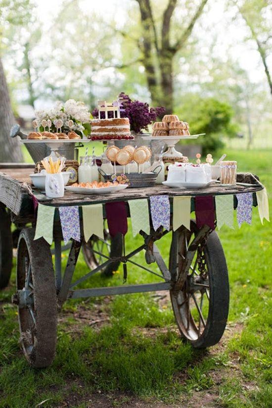 decoración de bodas rusticas carro candy bar - Ideas para la Decoración de Bodas Rústicas