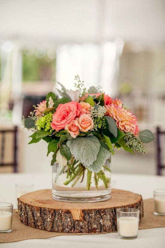 decoración de bodas rusticas centro de mesa