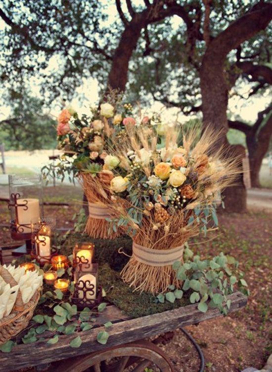 decoración de bodas rusticas flores silvestres y trigo