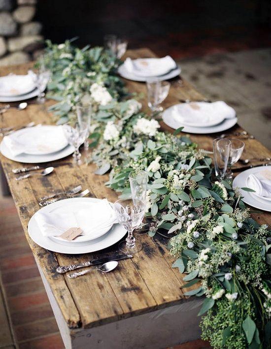 decoración de bodas rusticas mesa con eucalipto - Ideas para la Decoración de Bodas Rústicas