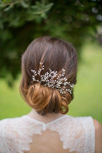 recogido bajo con tocado para novias recogidos bajos para bodas - Peinados Bajos