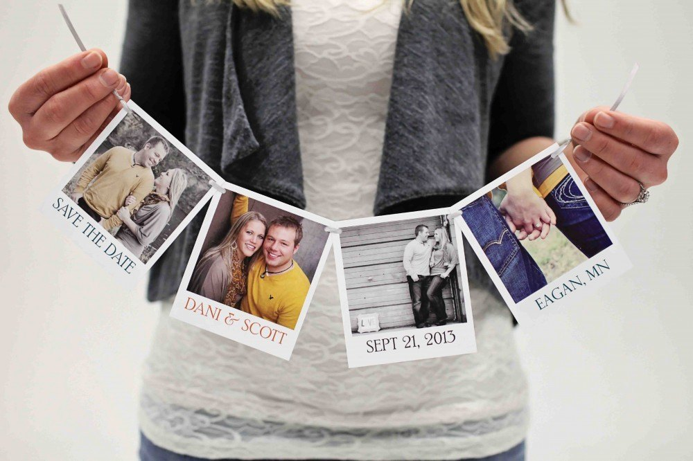 save the date con fotos polaroid