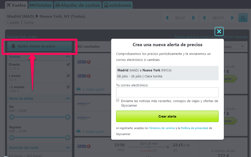 Notificaciones Skyscanner
