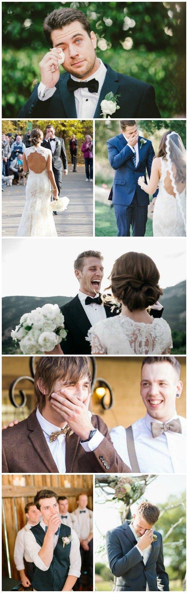 el novio espera la novia llorando. los novios también lloran
