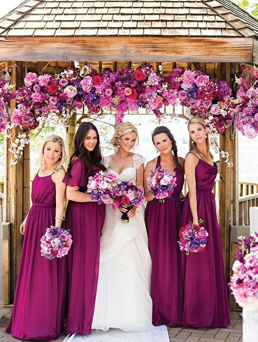 damas de honor con colores de la boda
