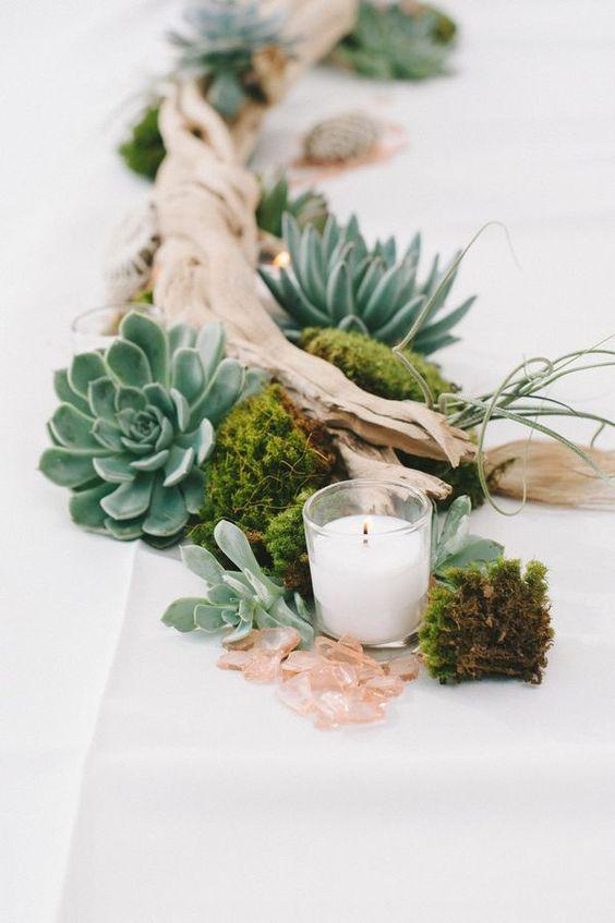 mesa decorada con suculenta y madera