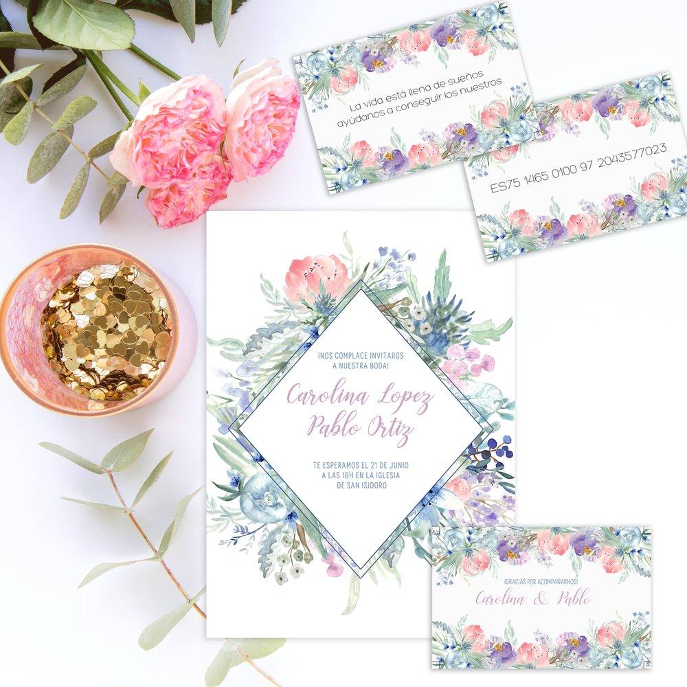 Invitaciones de boda para descargar Wild Blue