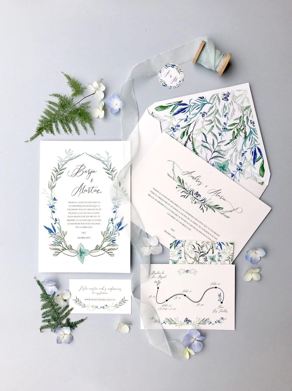 invitacion botanica jacintos silvestres marmarina - Marmarina, Creadores de Papelería de Alta Calidad