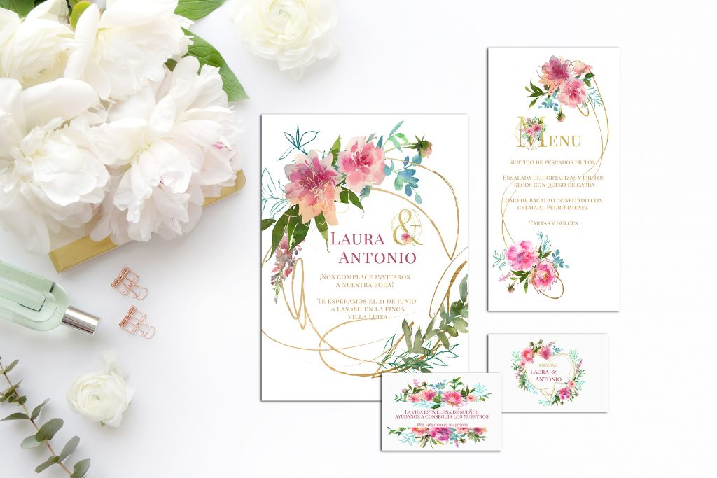 Colección Flower Gold zoom 2019 - Papelería para Descargar: Flower Gold y Botanic Gold