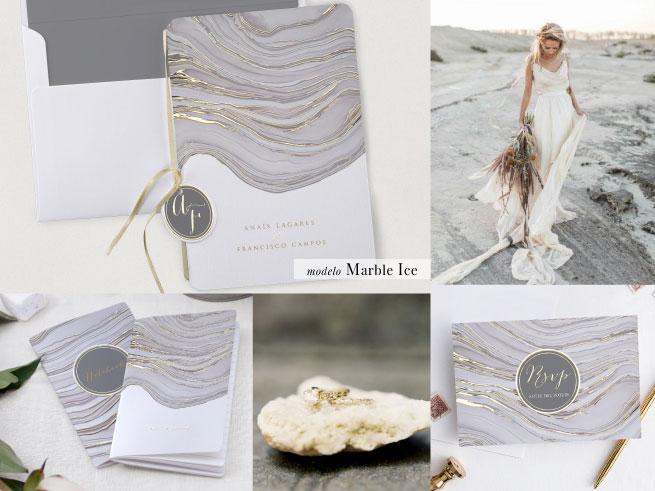 invitaciones de boda cottonbird modelo marble ice - Las Invitaciones de Boda de Cottonbird: Elegancía y Delicadeza