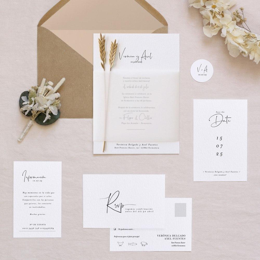 invitaciones de boda cottonbird modelo trigo - Las Invitaciones de Boda de Cottonbird: Elegancía y Delicadeza