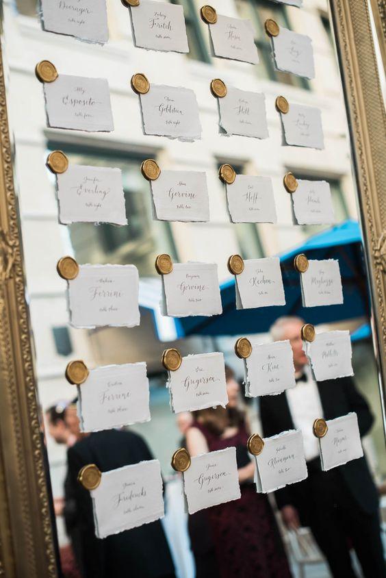 Tarjetas elegantes seating plan - Ideas para la Numeración de Mesas
