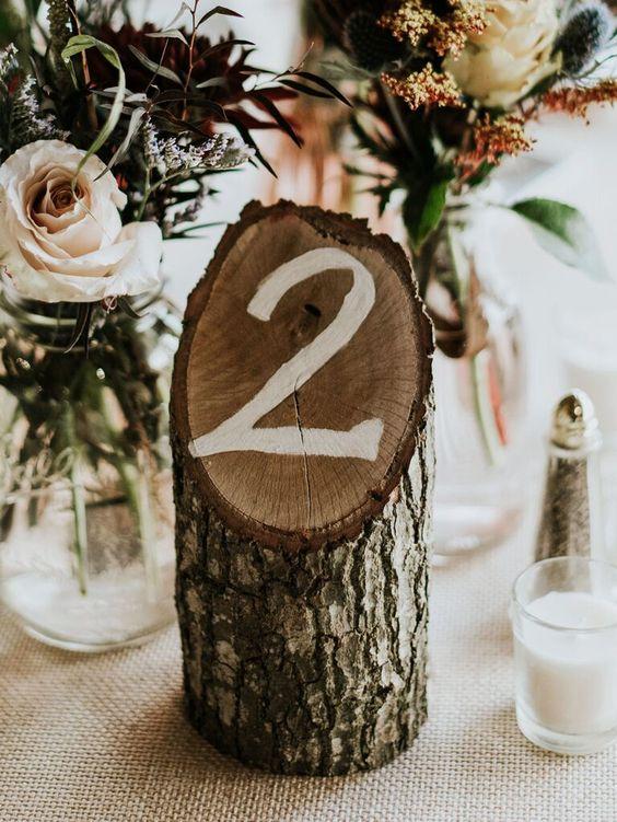 numero de mesa con tronco - Ideas para la Numeración de Mesas