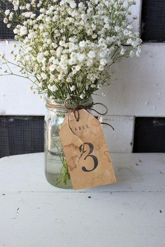 tarjeta con flores para numeros de mesa - Ideas para la Numeración de Mesas