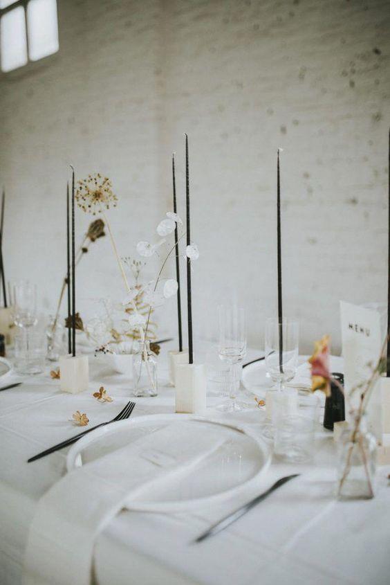 decoracion de mesa en blanco para boda minimalista - Ideas para una Decoración de una Boda Minimalista