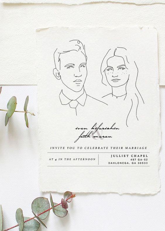 invitacion de boda minimal brides - Ideas para una Decoración de una Boda Minimalista
