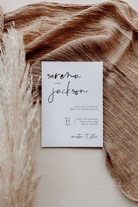 invitacion de boda minimal etsy - Ideas para una Decoración de una Boda Minimalista