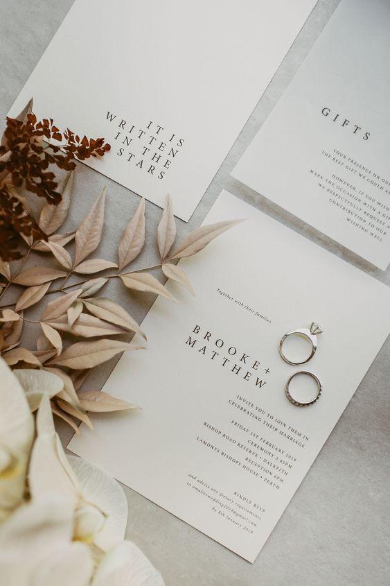 invitacion de boda minimal - Ideas para una Decoración de una Boda Minimalista