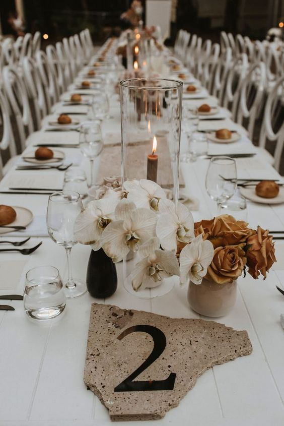 mesas para boda minimalista - Ideas para una Decoración de una Boda Minimalista